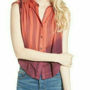 2097 Free People Baby Blues Striped Blouse Top M